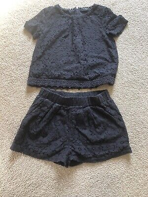 Pre Owned Next Girls Top And Shorts Set Grey Lace Age 10