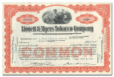 Liggett & Myers Tobacco Company Stock Certificate