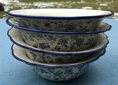 4 Pfaltzgraff Blue Meadow (Scalloped) Deep Soup or Cereal Bowls - Set of 4