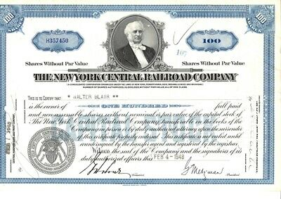 ACT06 : Action The N-Y Central Railroad Cy bleue - 100 sh.