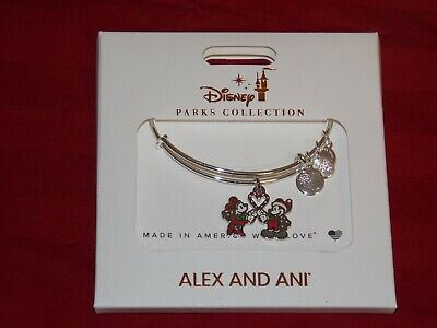 Disney Parks Alex And Ani Mickey Minnie Candy Cane Heart 2019 Christmas Bracelet