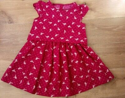 Girls Red Dress and Pink Legging Set Age 4-5 Years