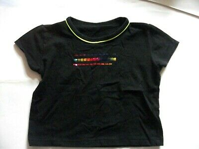 M&S Girls BLACK Stretchy Short Top with Shiny Rainbow squares 9yrs
