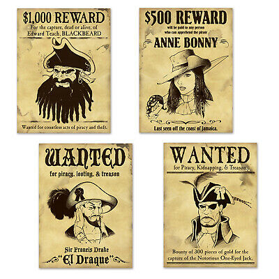 4 Wanted Sign Cutouts Jack The Ripper Edward Hyde Sherlock Holmes Birthday Decor