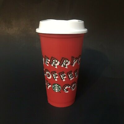 Starbucks 2019 Holiday Reusable Red Hot Cup 16oz BPA Free Plastic Coffee