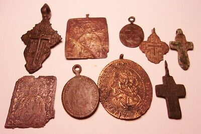 Nine Ancient Christian Bronze Crosses and other Misc.   Very old examples