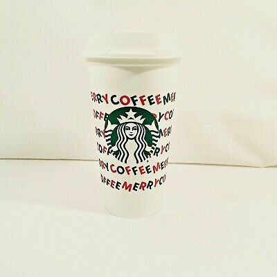 Starbucks Holiday Christmas 2019 White Reusable Hot Coffee Cup w/ Lid- 1 cup