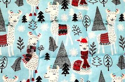 """Winter Llamas""New Turquoise Cotton Boys Baby/Toddler  Quilt/Comforter-Gift Idea"