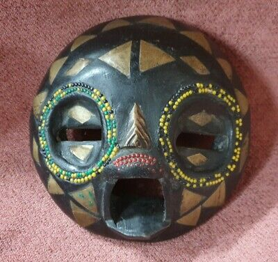 Vintage Wooden Hand Carved Painted And Beaded African Face Mask
