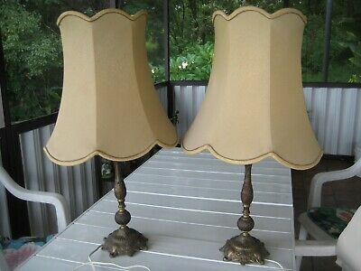 Twin Retro Brass Bedside lamps, mid 1970's, in good condition for age.