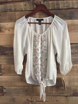 Style&co. White Ivory Embroidered Sheer Long Sleeve Blouse Womens Petite Small