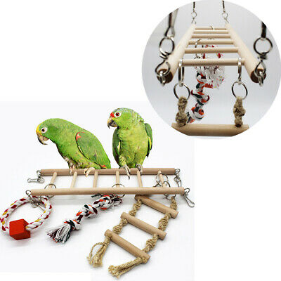Pet Bird Wood Ladder Climb Parrot Cage Hanging Swing Shelf Parrot Bites Play Toy