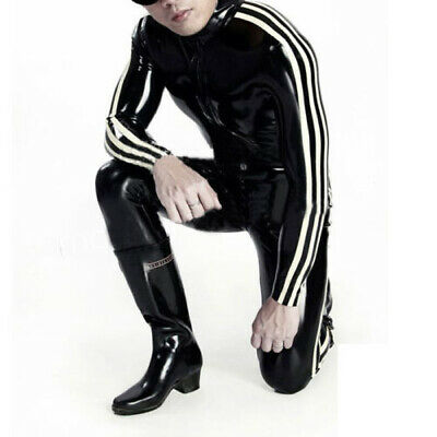 Latex Rubber Catsuit Zentai Jumpsuit Weiß&Schwarz Stripes Gummi Bodysuit S-XXL
