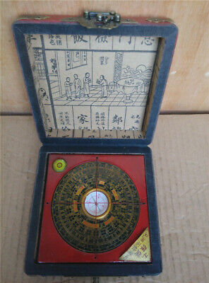 Chinese old Red leather box Longfeng pattern compass