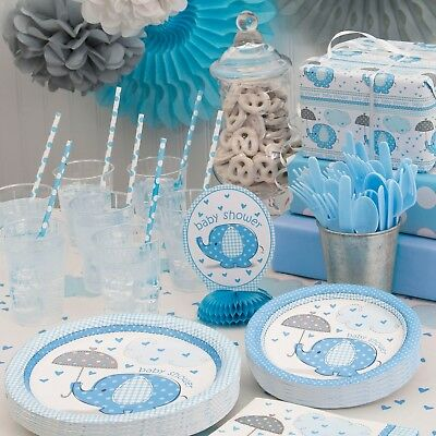 Baby Shower Banner Elephants Tableware Blue Party Supplies Boys Umbrellaphants