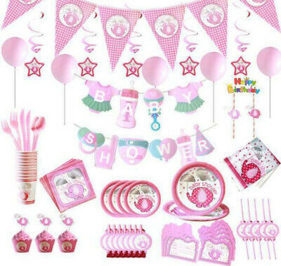 Baby Shower Banner Elephants Tableware Pink Party Supplies Boys Umbrellaphants