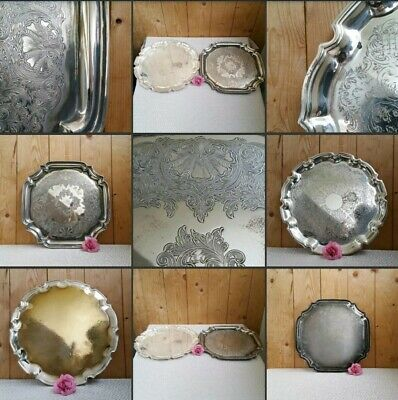 *Used* Beautiful Pair 2 x Vintage Trays▪SILVER ~PLATED▪Serving Dishes~Decorative