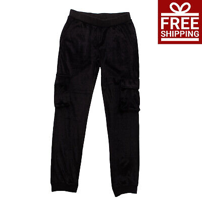 Velour Trousers Size 8-9Y Stretch Black Cuffed Elasticated Waist