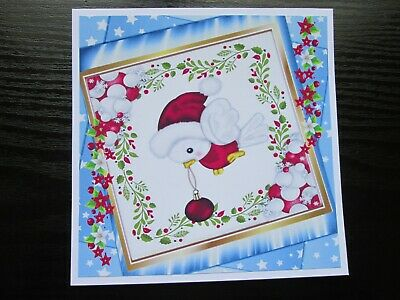 LAST ONE === 2 X Christmas Robin with Bauble Card Toppers & Sentiments