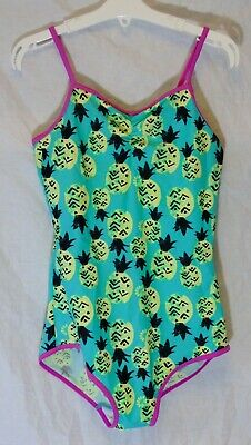 Girls George Green Yellow Pineapple Swimming Costume Swimsuit Age 10-11 Years