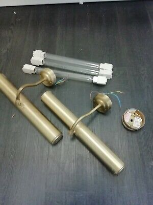 Antique brass picture frame lights pair
