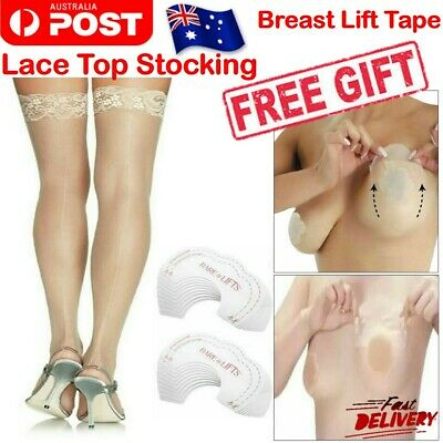 Women Non slip Thigh High Stockings Sheer Lace Top with Breast Lift Tape Cover
