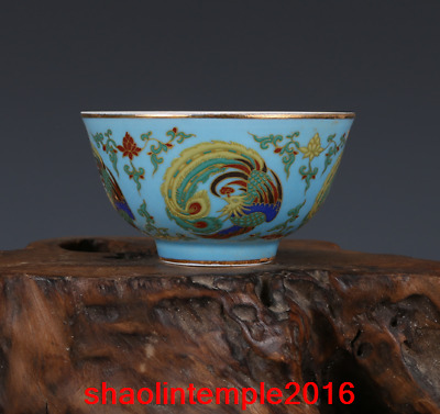 "3.8""rare China antique the Ming dynasty carving Phoenix cup"