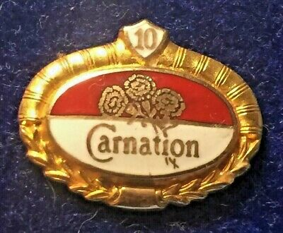 RARE- Vintage set of 2 solid gold Carnation Dairy employee 10 yr service Pins