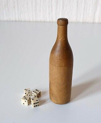 Antique Early 20Th Century Miniature Dice In Wooden Bottle Shaker