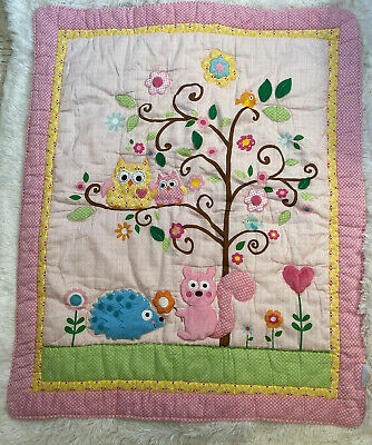 Kidsline Baby Crib Comforter Quilt Owls Squirrel Porcupine Pink/Yellow/Green