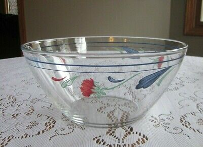 """LENOX POPPIES ON BLUE GLASS BOWL Arcoroc France 9"""" Excellent Condition"""