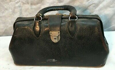 Vintage cowhide leather Doctor bag carry luggage 16in