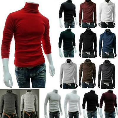 Men Polo Turtle Roll High Neck Knitted Slim Fit Jumper Sweater Basic Top T Shirt