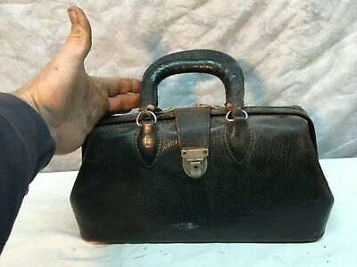 Vintage cowhide leather Doctor bag carry luggage 13in