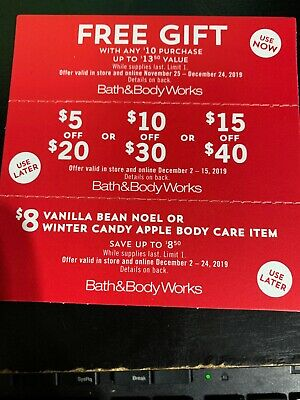 3 Bath and Body Works Coupons 💰 $15off $40, Gift with Purchase exp Dec 24, 2019