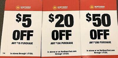 Three (3) Northern Tool Coupons $50 $20 $5 ($75 Total Savings)! Exp: 01/07/20
