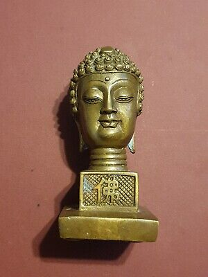 BRONZE HAND-CAST BUDDHA HEAD STATUE, with ideograms on all sides, signed base!!!