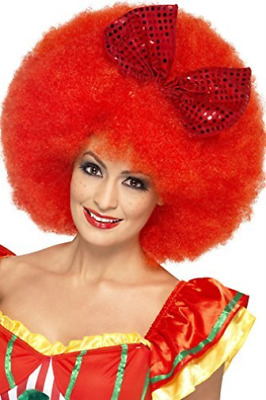 Mega Afro Clown Wig, Red, with Sequin Bow (US IMPORT) COST-ACC NEW