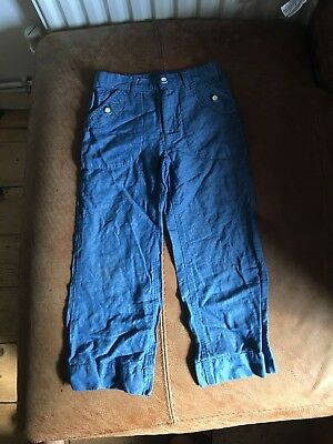 Little White Company 3-4yrs Blue Linen Blend Trousers