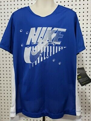 Boys Kids Youth NIKE Shirt NEW Blue red Baseball short sleeves Size Large