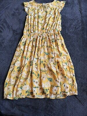 Girls Yellow Floral Dress Age 13 Yrs From Next