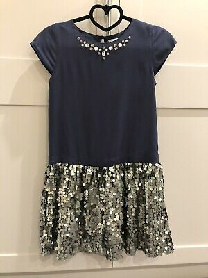 John Lewis Girls Party Dress Age 10 Navy Blue & Silver Sequins BRAND NEW