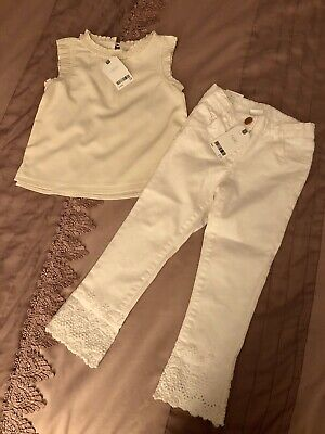 Next Girls Outfit 3-4 - White Jeans & Cream Blouse Top NEW Trousers Embroidered