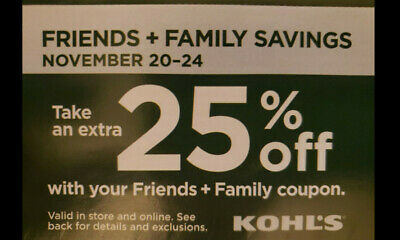 Kohl's coupon 25% off coupon online and instore for purchase of November 20-24