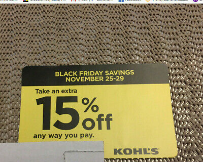 Take an extra 15% off Black Friday Kohl's Coupon Code any way you pay Nov. 25-29