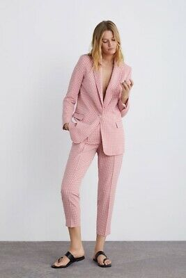 Zara Ss19 Gingham Trousers Pink / White Size Xs Ref. 2128/578