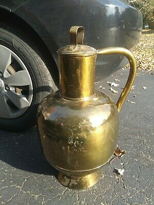 """Huge 23"""" Solid Brass Handled Water Vessel w/ Lid Dovetailed Riveted"""