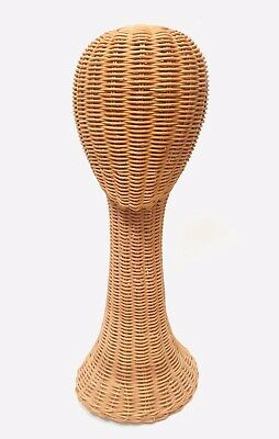 """14/"""" VINTAGE WICKER HEAD HOLDER WIG GLASS HAT DISPLAY STAND RATTAN NATURAL#002"""