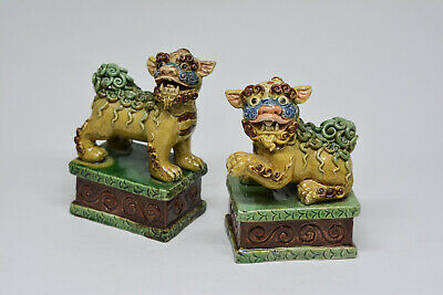 Vintage Chinese Crackle Glaze Pair Fu Lions - 4 Inches tall - 🐘