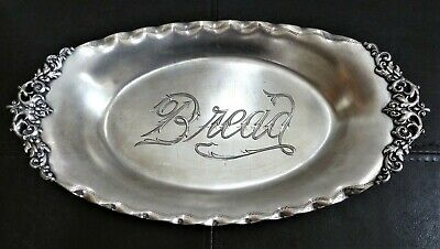 Ornate Antique Meriden Silver Plate Bread Tray, Hand Engraved, Scroll Work, Fine